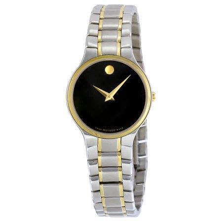 Movado Serio Black Dial Two-Tone Women's Watch 0606902 (Movado Womens Two Tone Watch)