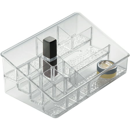 InterDesign Rain Cosmetic Organizer for Vanity Cabinet to Hold Makeup, Beauty Products, Clear