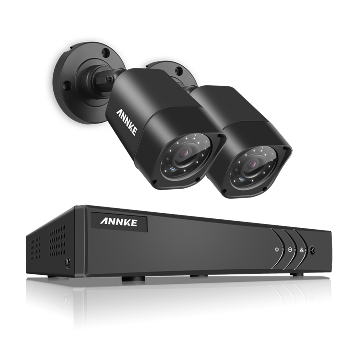 Annke 4-Channel 1080P Lite Video Security System DVR and 2 Weatherproof Indoor/Outdoor Cameras with IR Night Vision LEDs With No Hard Drive Disk