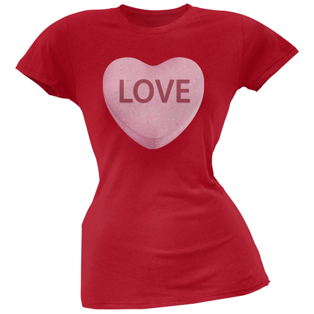 Pink Love Candy Heart Red Soft Juniors T-Shirt