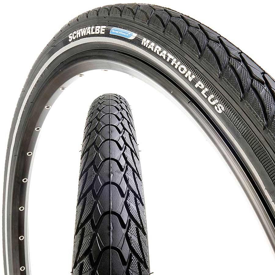 """26/"""" Bike Tyre Clincher Schwalbe Marathon Plus Tour Wire 26X2.0/"""" Black//Reflex"""