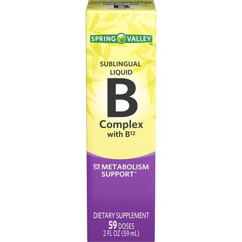 Spring Valley Sublingual Liquid B Complex with B12 Vitamin Supplement, 2 fl oz