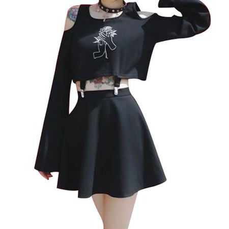SHOPFIVE Women Gothic Two Piece Set Punk Gothic Rose Printing Long Sleeve Crop Top And Skirt Suit Halloween Cosplay Sexy Skirt Suit Comfort - Gothic Outfit