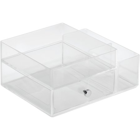 InterDesign Clarity Cosmetic Organizer for Vanity Cabinet to Hold Makeup, Beauty Products, One Drawer with Side Caddy, Clear ()