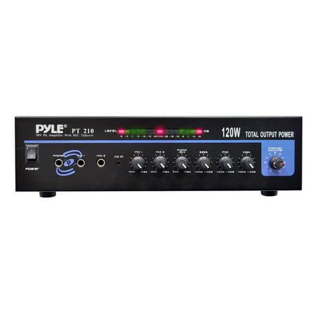 PYLE PT210 - 120 WATT MICROPHONE PA Mono Amplifier w/70V Output & Mic Talkover