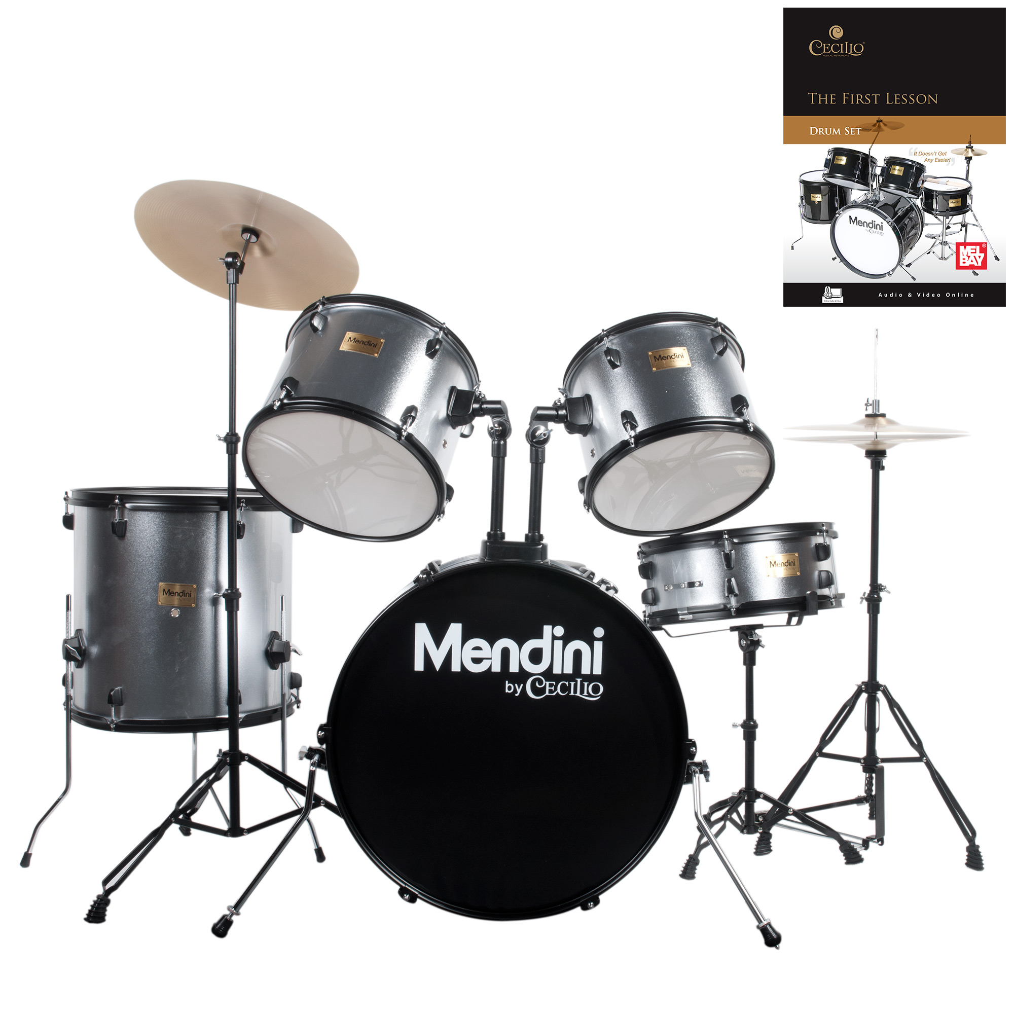 Mendini by Cecilio Complete Full Size 5-Piece Adult Drum Set w/ Cymbals Pedal Throne Sticks, Lesson Book, Metallic Silver MDS80-SR