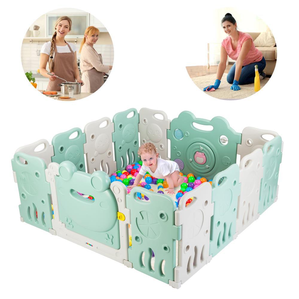 Ktaxon 14 Playpen Baby Kids Panel Safety Play Center Yard Home Pen Plus Indoor Outdoor