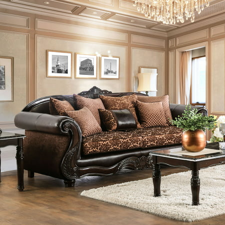 Furniture of America  Quez Traditional Brown Faux Leather Padded Sofa Traditional Brown Leather
