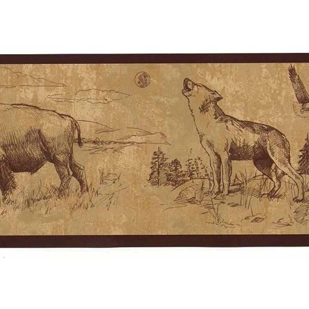 879192 Moose Buffalo Wolf Eagle Wallpaper Border for $<!---->