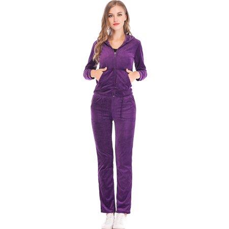SAYFUT - SAYFUT Velour Tracksuit For Women Jogging Pant Sets Velour Suit  Set Womens Tracksuit With Hoodie Purple Blue M-2XL - Walmart.com 76155d1060d3