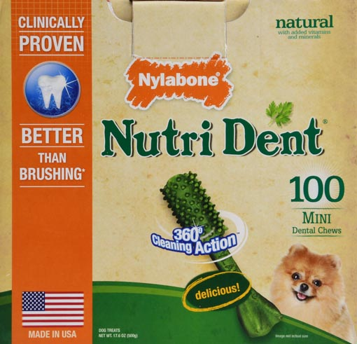 NYLABONE NUTRI DENT MINI DOG DENTAL CHEWS - 100 COUNT