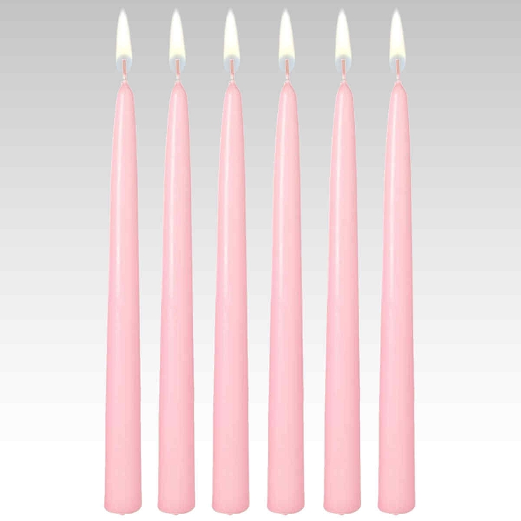 "10"" Pink Taper Candles (Set of 12)"