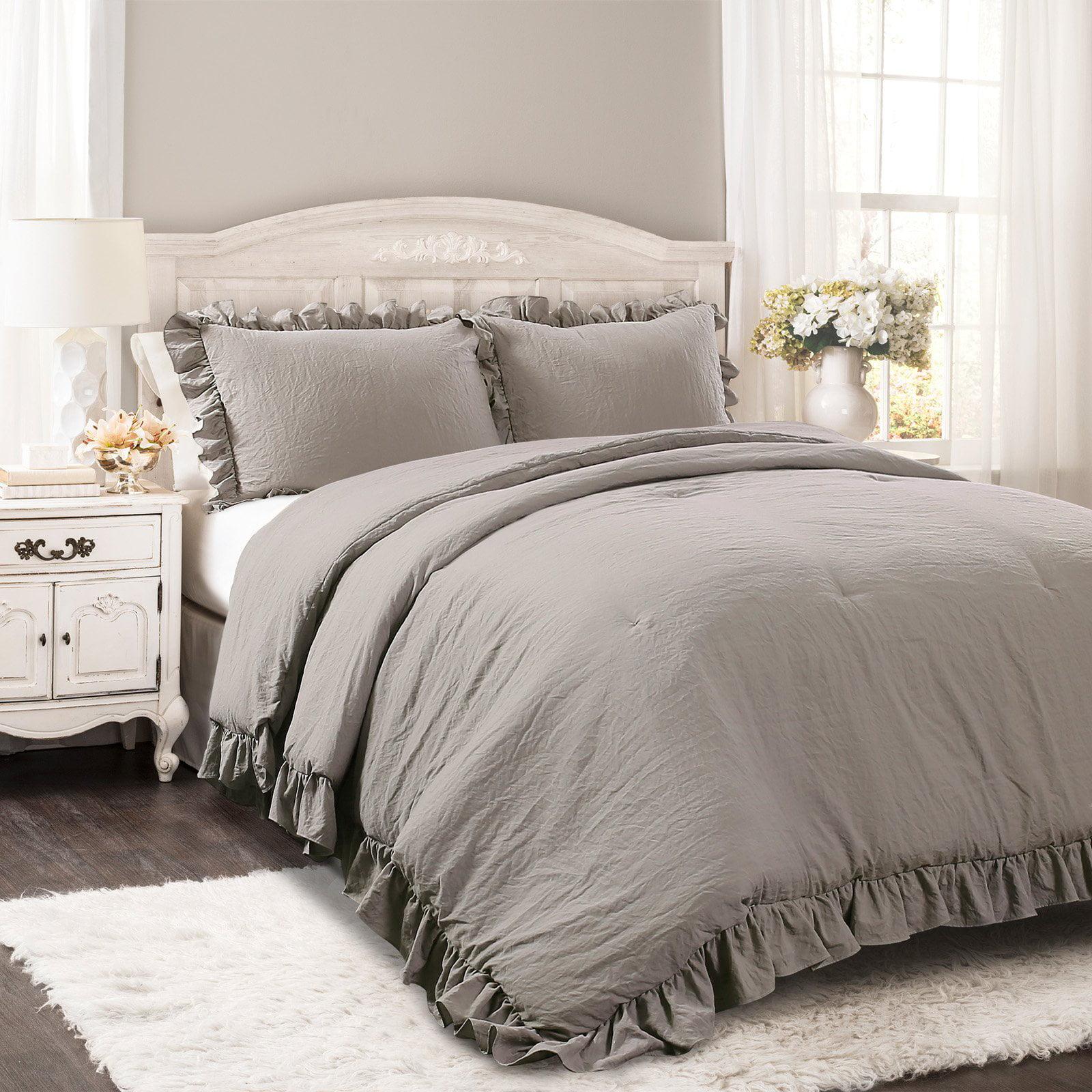 """Lush Decor Reyna Textured Ruffle Detail Comforter, Full/Queen, Gray, 3-Pc Set"""