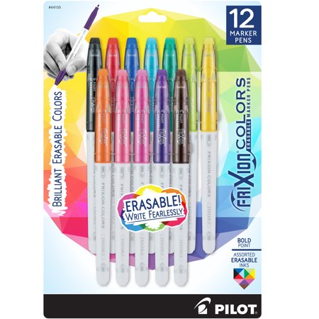 Pilot Frixion Colors Erasable Marker Pens, Bold Point, Assorted Colors, 12 Count