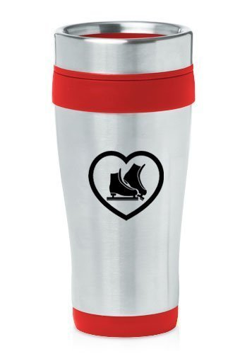 Red 16oz Insulated Stainless Steel Travel Mug Heart Ice Skates,MIP by