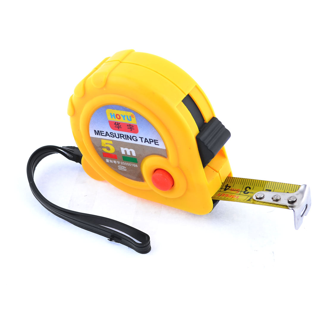 Belt Clip Dual Scale 5M Flexible Rule Steel Measuring Tape Tapeline Yellow