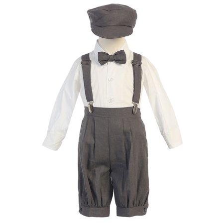 3t Short - Little Boys Charcoal Suspenders Short Pants Hat Outfit Set 3T