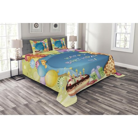 Kids Birthday Bedspread Set, Congratulation Best Wishes on the Blue Color Backdrop Party Balloons Print, Decorative Quilted Coverlet Set with Pillow Shams Included, Multicolor, by