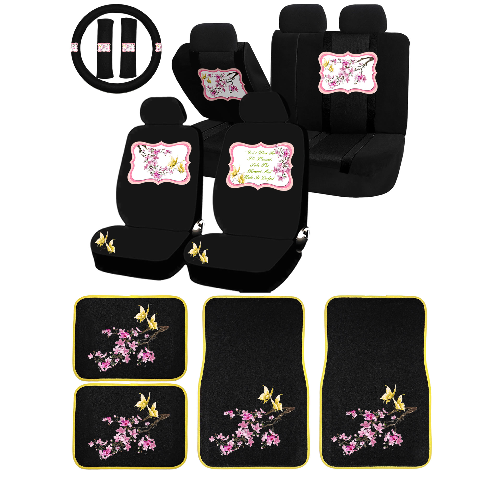 26PC Cherry Blossom Yellow Butterfly Universal Seat Covers & Carpet Floor Mats Set Car Truck SUV