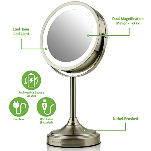 Ovente LED Lighted Tabletop Makeup Mirror, 7 Inch, Dual-Sided 1x/7x Magnification (Battery-Operated) Nickel Brushed (MCTR70BR1X7X)