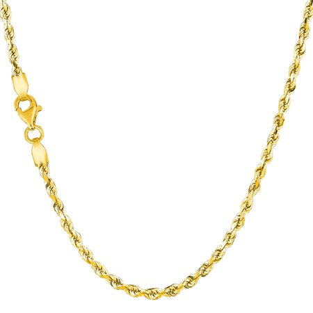 Solid 10K Yellow Gold 2.5mm Diamond Cut Rope Chain Bracelet 7