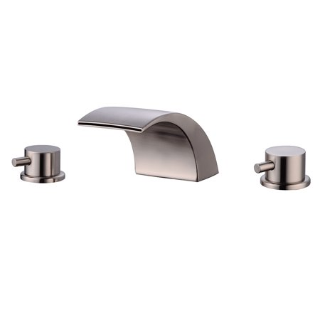 3 Holes Bath Basin Faucet Deck Mount Dual Handles Brushed Brass Vanity Mixer Tap Silver