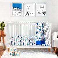 Little Star Organic Pure Organic Cotton Crib Bedding Set, 3 Pc, Blue-Modern Safari