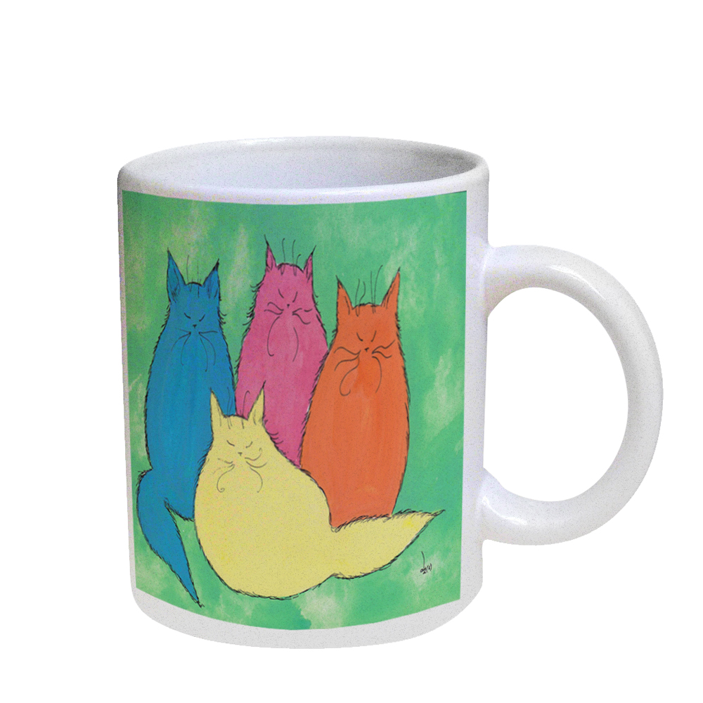 KuzmarK Coffee Cup Mug Pearl Iridescent White - Pastel Maine Coon Kitties Abstract Cat Art by Denise Every