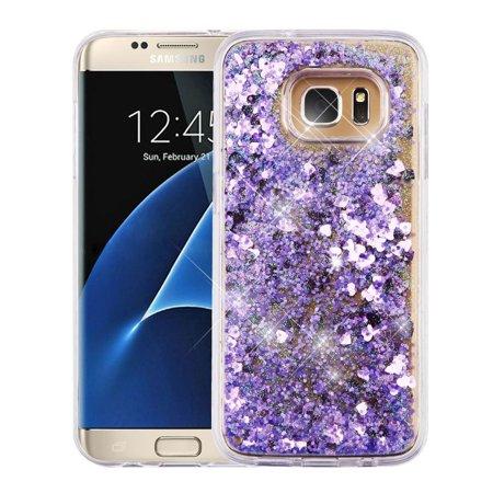 Samsung Galaxy S7 Edge Case, by Insten Hearts/Purple Quicksand Glitter Hybrid Hard PC/TPU Case Cover For Samsung Galaxy S7 Edge