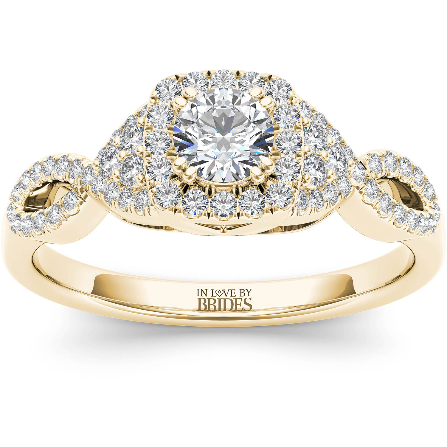 IN LOVE BY BRIDES 1/2 Carat T.W. Certified Diamond Twisted Shank Halo 14kt Yellow Gold Engagement Ring