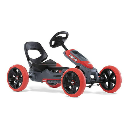 BERG Reppy Rebel Kids Pedal Go Kart Ride On Toy w/ Axle Steering, Red and Gray