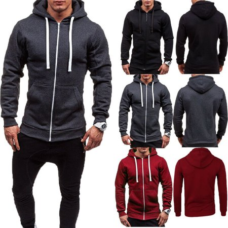 Mens Thick Zip-Up Hoodie Sherpa Fur Winter Unisex Hooded Jacket Jumper (Coats For Men Fur Collar)