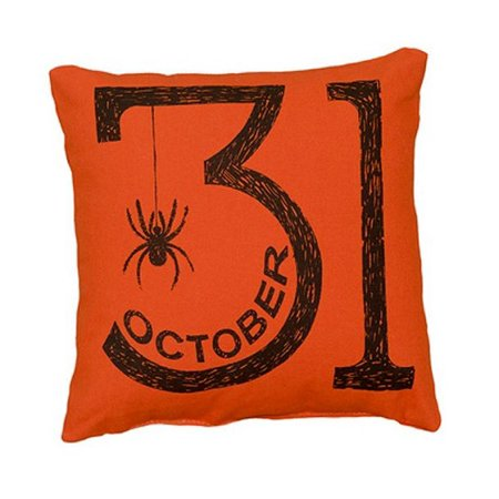 Orange October 31st Halloween Spider Decorative Pillow Primitives by Kathy New - Friday 31st October Halloween