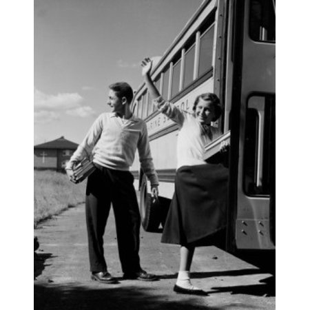 Teenage girl and boy boarding school bus Poster Print (Boarding School Girl)