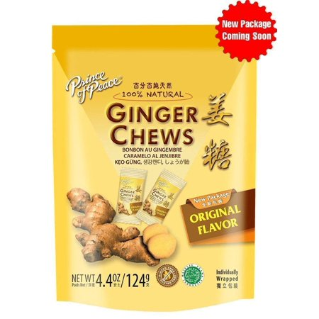 3 Pack Prince Of Peace 100 Percent Natural Ginger Candy Chews, 4.4 Ounce - All Natural Halloween Candy