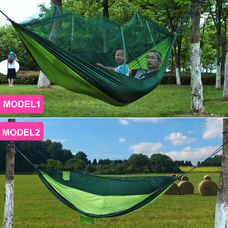 2 Person Hanging Hammock Bed With Mosquito Net Parachute Cloth Hammock