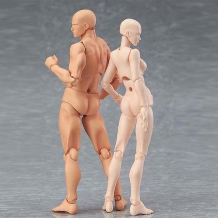 Figma Young Version 2.0 Light BODY CHAN & Kun 2pcs Moveable Action Figure (Body Chan Body Kun Manga Drawing Figure)