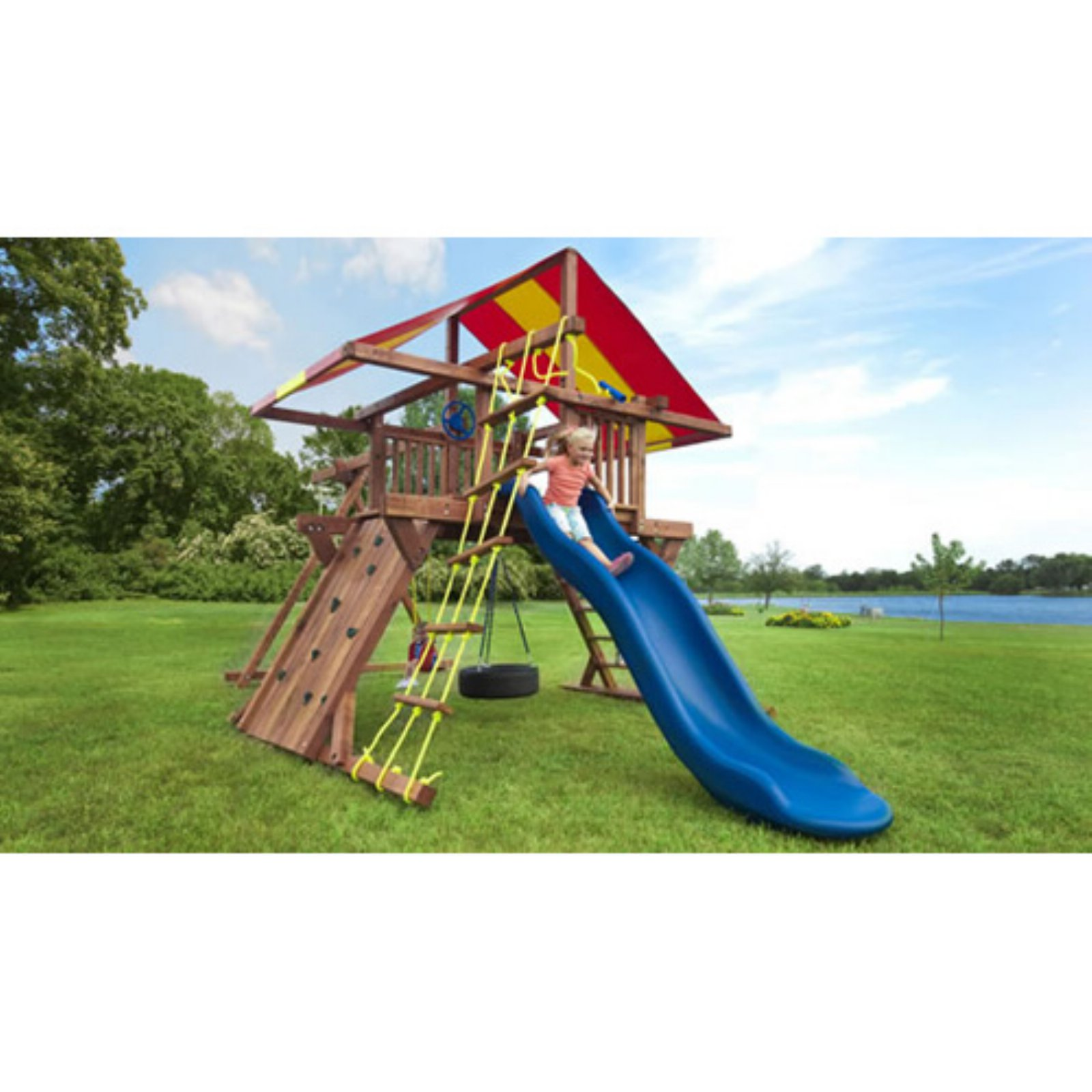 Kids Creations Pot O Gold Redwood Swing Set