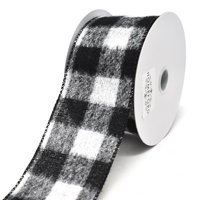Brushed Buffalo Plaid Wired Edge Christmas Ribbon, 2-1/2-Inch, 10-Yard, Black/White