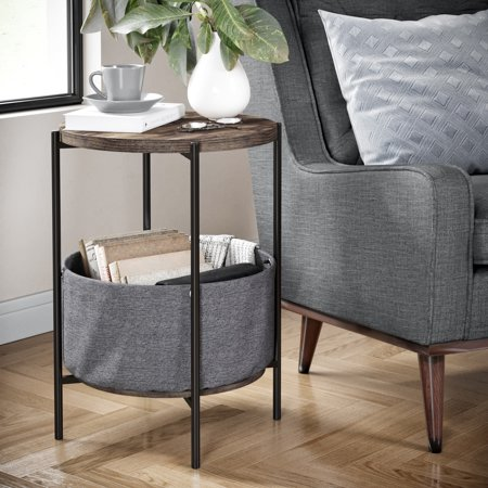 Ora Wood Side Table with Gray Fabric Storage, Dark Brown Top, Black Metal Base