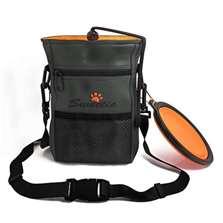 Dog Treat Pouch With Poop Bag Dispenser Holder   Collapsible Food Water Bowl Puppy Training Travel Doggie Walking   Adjustable Belt