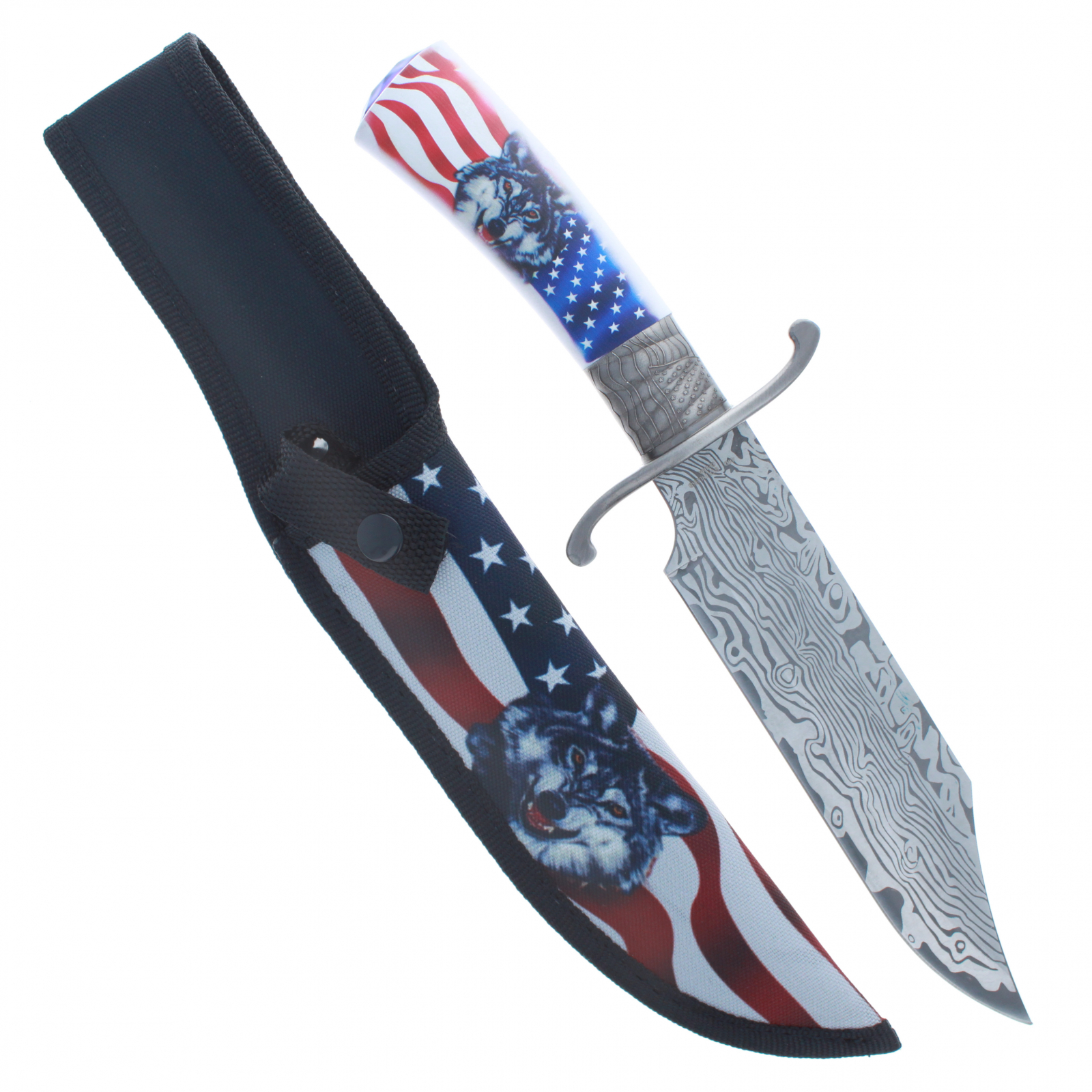 ASR Outdoor Damascus Etched Hunting Knife 12.25 Inch Wolf