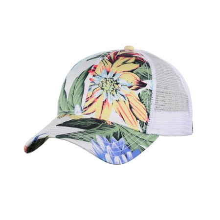 C.C Floral Print Front Panel Mesh Back Adjustable Precurved Baseball Cap Hat, (Mesh Back Hat Cap)