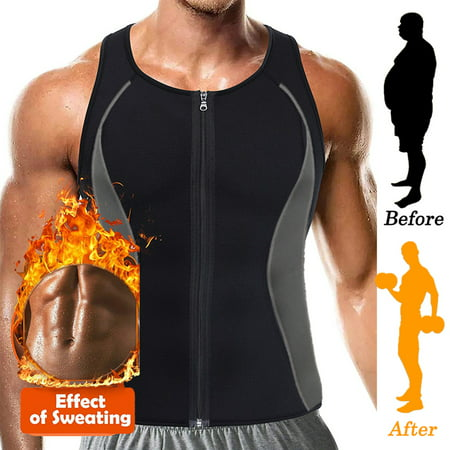 SLIMBELLE Men Waist Trainer Vest for Weightloss Hot Neoprene Corset Body Shaper Zipper Sauna Tank Top Workout Shirt by OWMEOT Khaki (Hot Topic Corset)