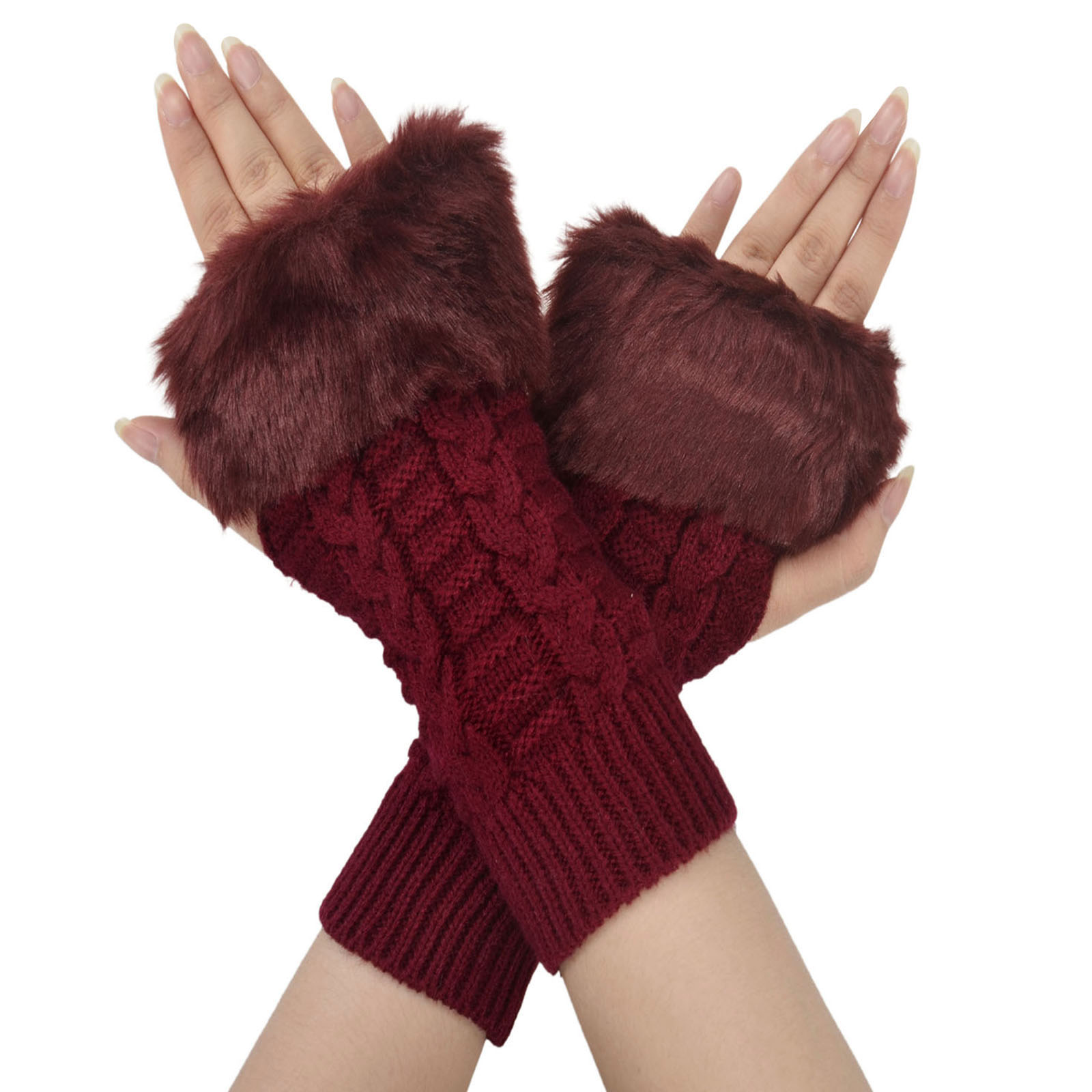 Simplicity Winter Warmer Women Faux Knitted Hand Wrist Fingerless Gloves, Red