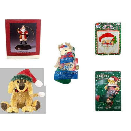 Christmas Fun Gift Bundle [5 Piece] - Hallmark Ornament Display Stand - Jumbo  Suncatcher Santa - Avon Collection O Deer Door Knob Cover & Window Decoration - Ty Beanie Babies Jinglepup  Puppy  6