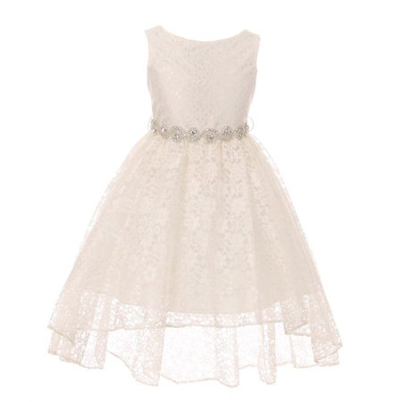 0a60ecdee My Best Kids - Girls Ivory Lace Rhinestone Belt Bow High-Low Junior  Bridesmaid Dress - Walmart.com