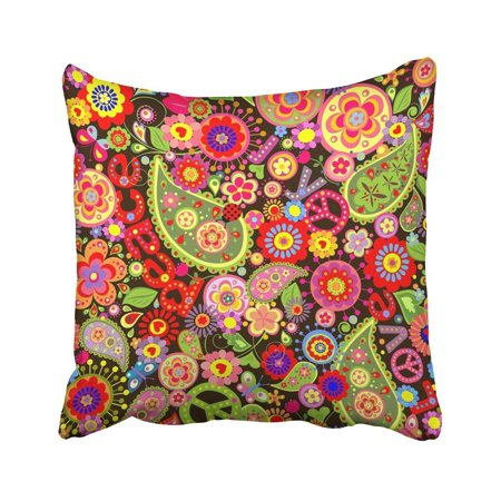 CMFUN Hippy with Colorful Flower Power Paisley 1970S Sixties 70S Love Peace Pillow Case Pillow Cover 16x16 inch Throw Pillow Covers](70s Flower Power Fashion)