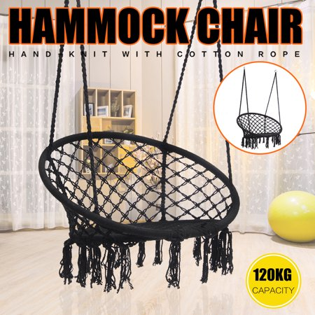 Black Macrame Hanging Hammock Swing Chair Woven Rope Wooden Bar Lounge Indoor Outdoor Home Garden