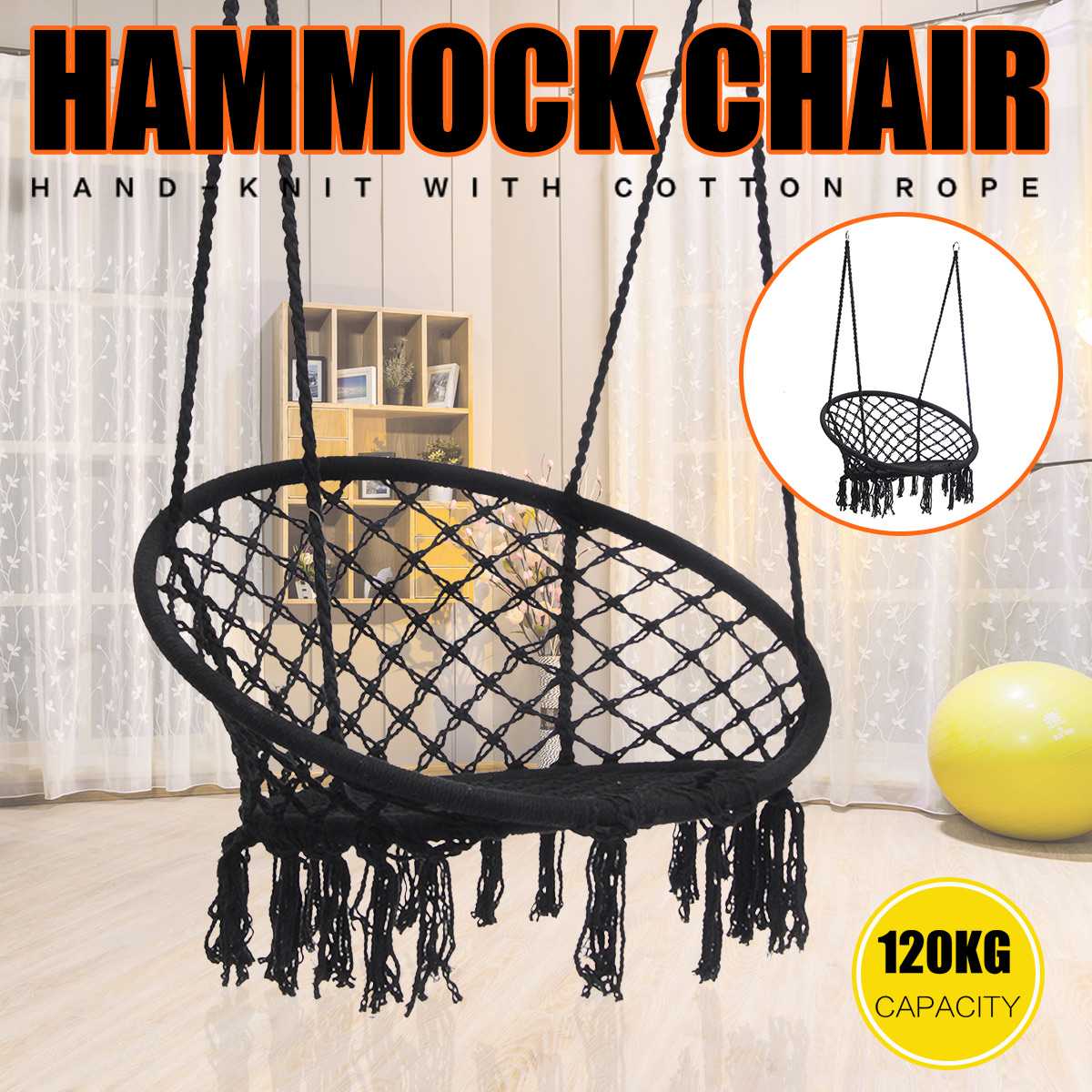 Black Macrame Hanging Hammock Swing Chair Woven Rope Wooden Bar Lounge  Indoor/Outdoor Home Garden